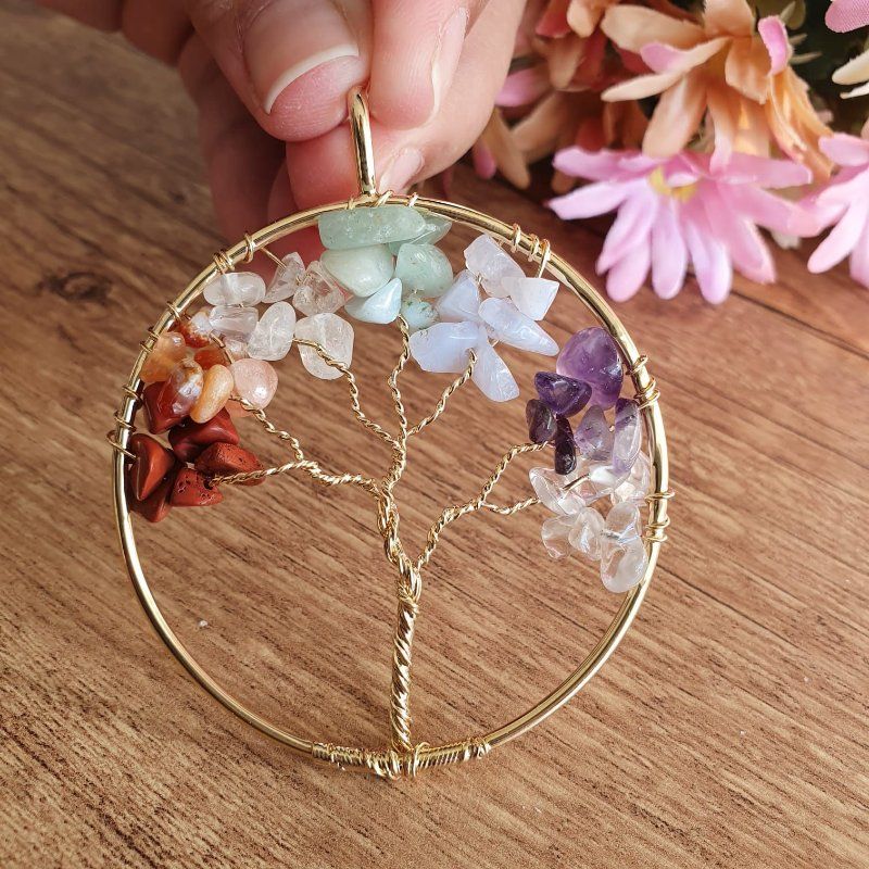 Pingente Árvore da Vida 7 Chakras dourado 5,5cm | EQUILÍBRIO