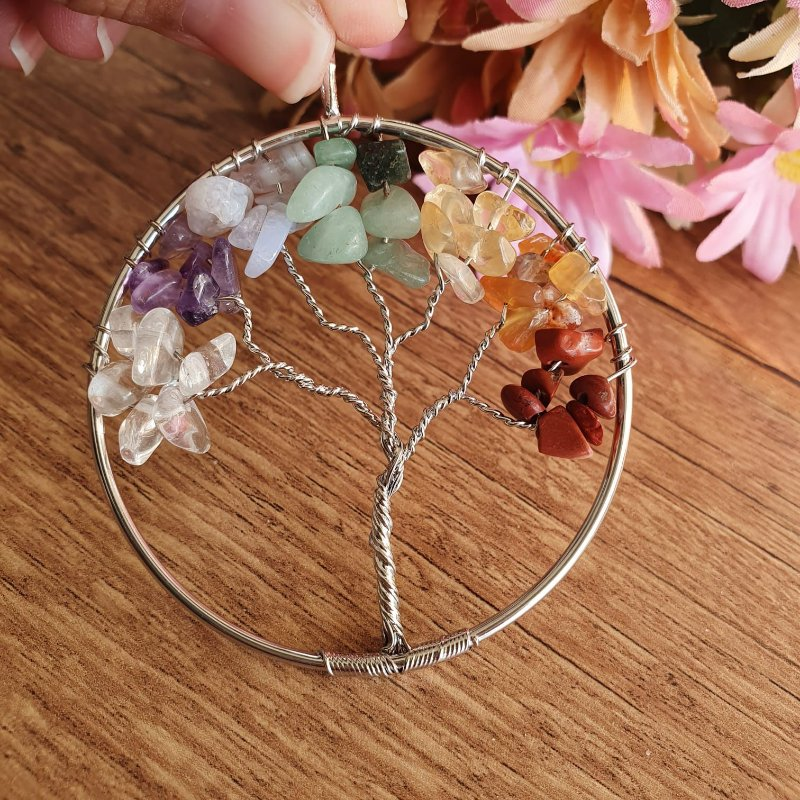 Pingente Árvore da Vida 7 Chakras | 5,5cm diâmetro prateado