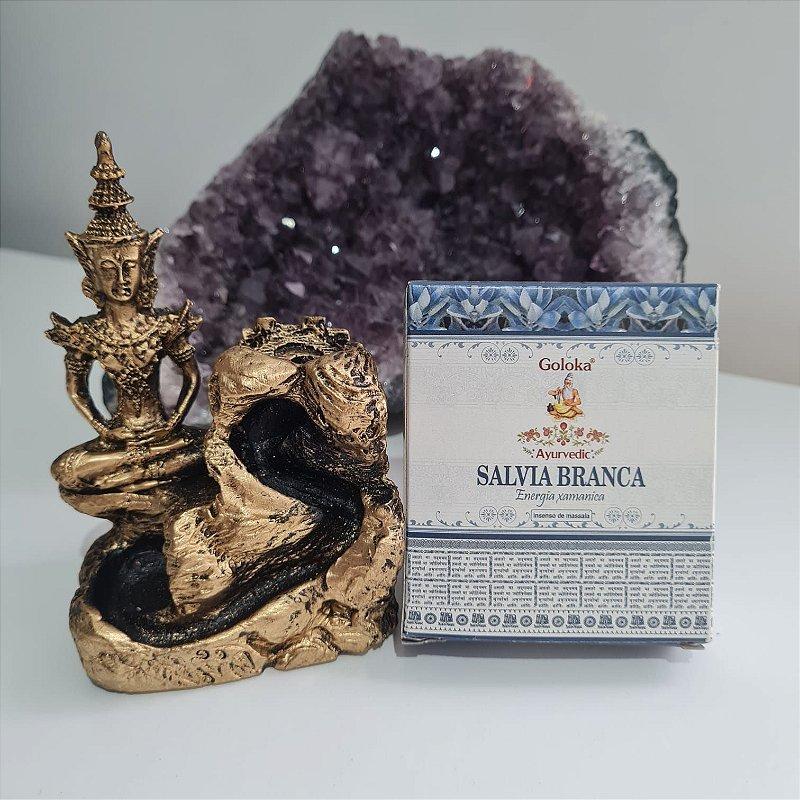 Kit incensário cascata Buda Sidarta e incenso cone Galoka Sálvia Branca |ENERGIA XAMÂNICA