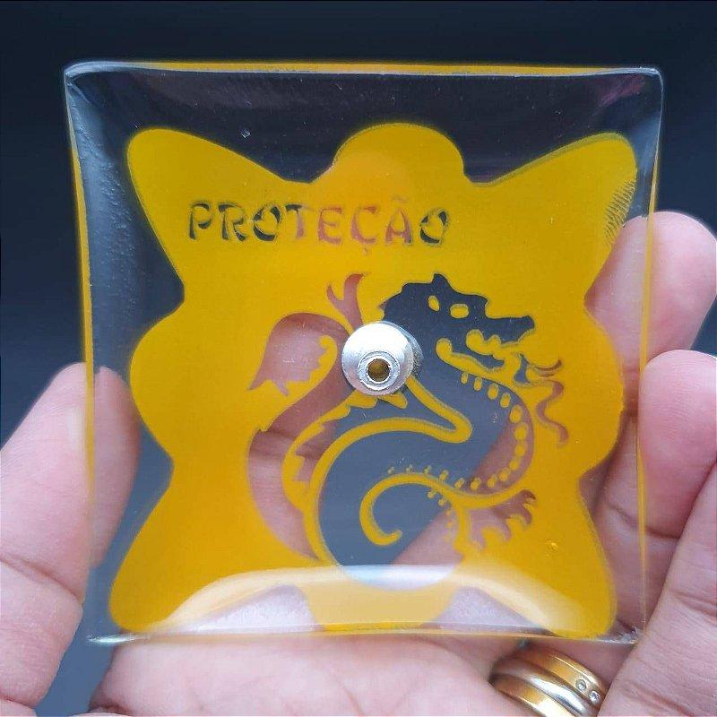Incensário de Vidro PROTEÇÃO Amarelo