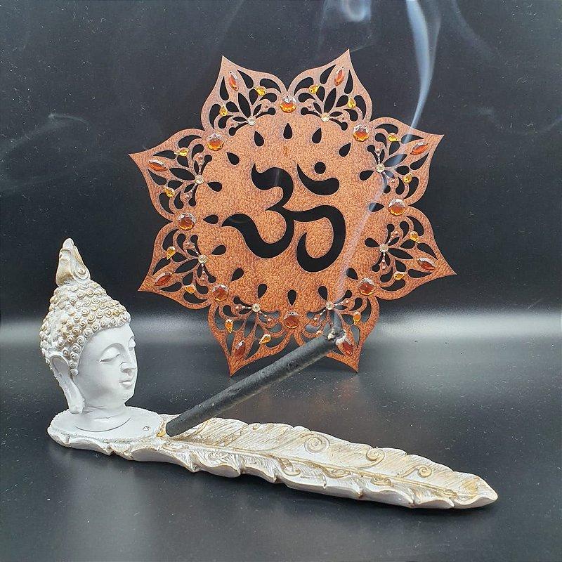 Incensário Buda Cabeça Branca 24cm