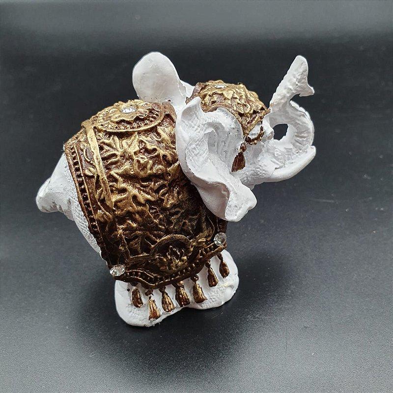 Elefante Branco com Manto Dourado 6cm