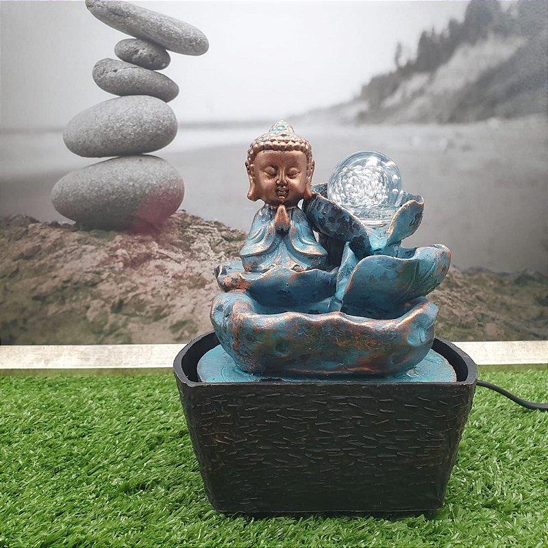 Fonte de Água Buda Meditando Azul 18 Cm