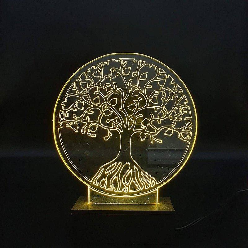 Luminária Acrílico Árvore da Vida Luz de Led
