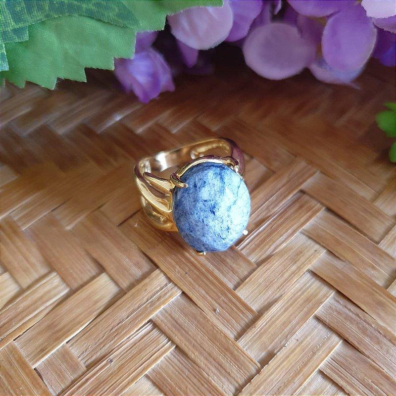Anel Quartzo Azul banhado a Ouro