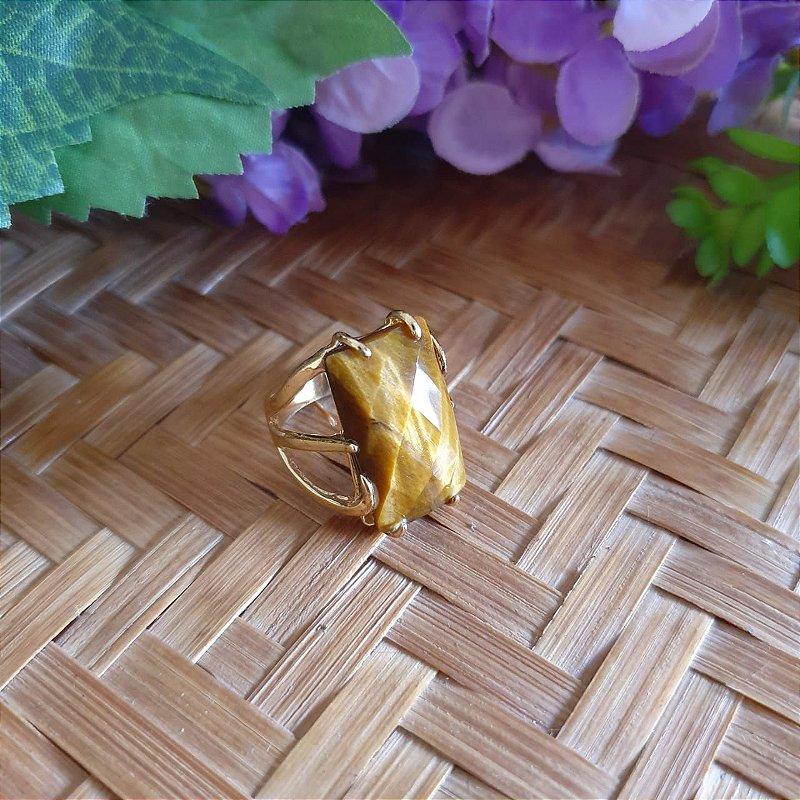 Anel Olho de Tigre banhado a Ouro