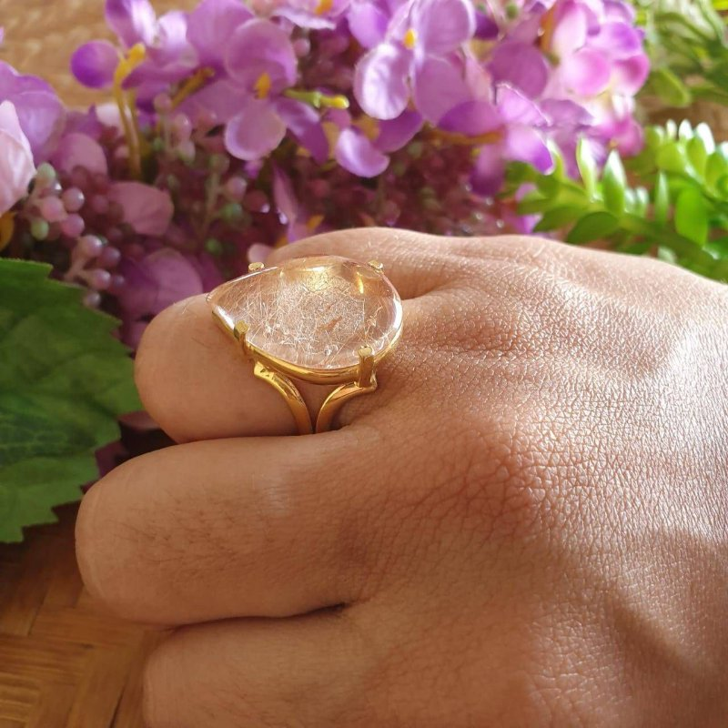 Anel Cristal Rutilado forma de Gota banhado a Ouro