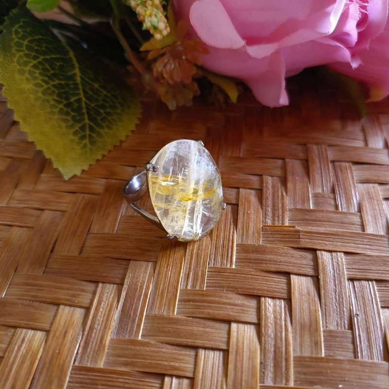 Anel Cristal Rutilado facetado prata