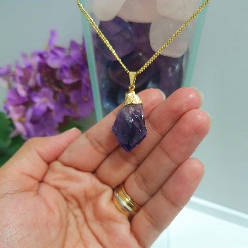 Pingente Ametista Pedra Natural - Galvanizada Banhada em Ouro - 4 Gramas 2.5 x 1cm