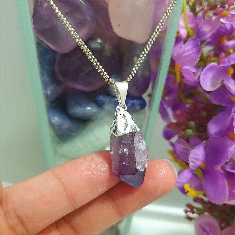 Pingente Ametista Pedra Natural - Galvanizada Banhada em Prata - 4 gramas 2.5 x 1cm