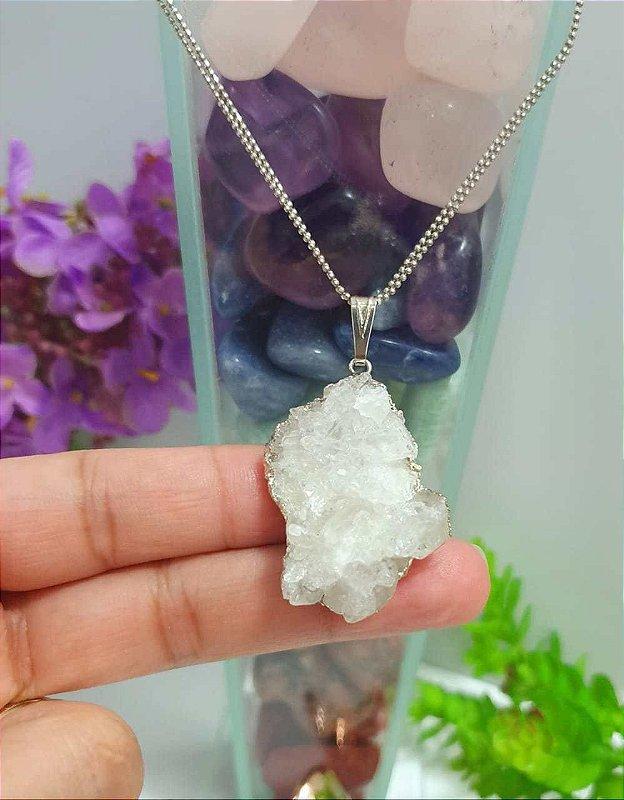Pingente Drusa de Cristal Galvanizado - 11 Gramas 3cm x 2cm