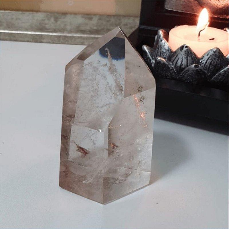 Ponta Cristal Fumê Fantasma Lapidado 170g 7cm x 4cm
