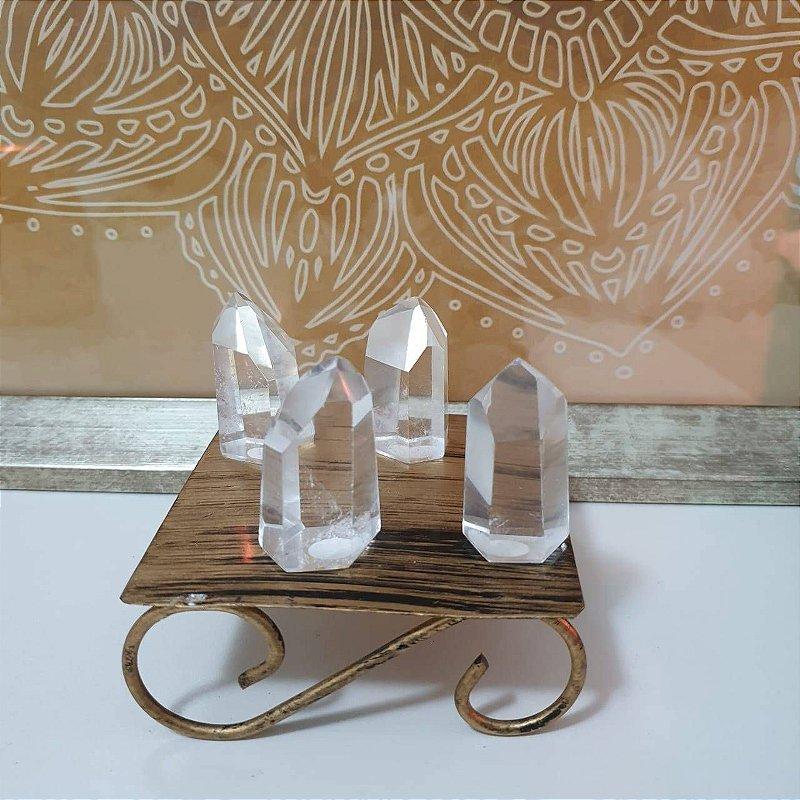 Ponta Cristal Transparente Lapidado - 133 Gramas 4cm x 5.5cm (unidade)