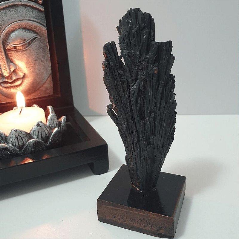 Cianita Negra na Base de Madeira (Vassoura de Bruxa) - 80 Gramas 4cm x 11cm