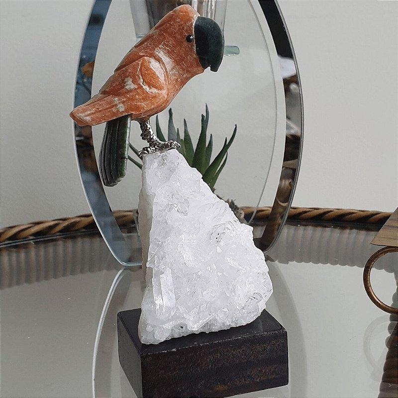 Arara Cornalina com base em Drusa de Cristal - 194 gramas 5cm x 13cm
