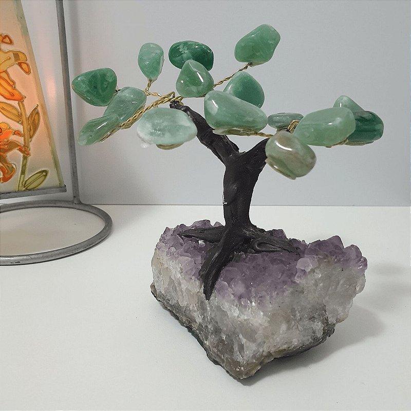 Árvore Quartzo Verde com base em Drusa de Ametista - 529 gramas 10cm x 10cm