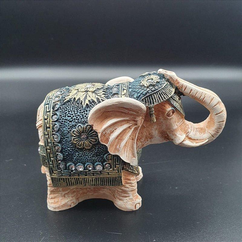 Elefante Azul com tromba para cima 9 cm