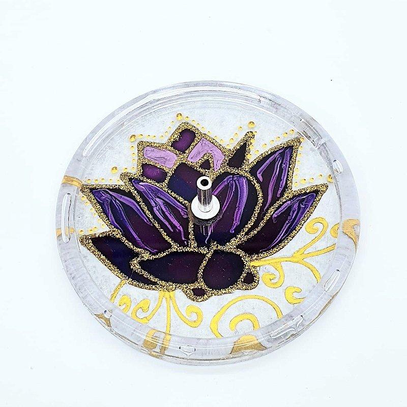 Incensário Redondo Mandala Flor De Lotus 10cm