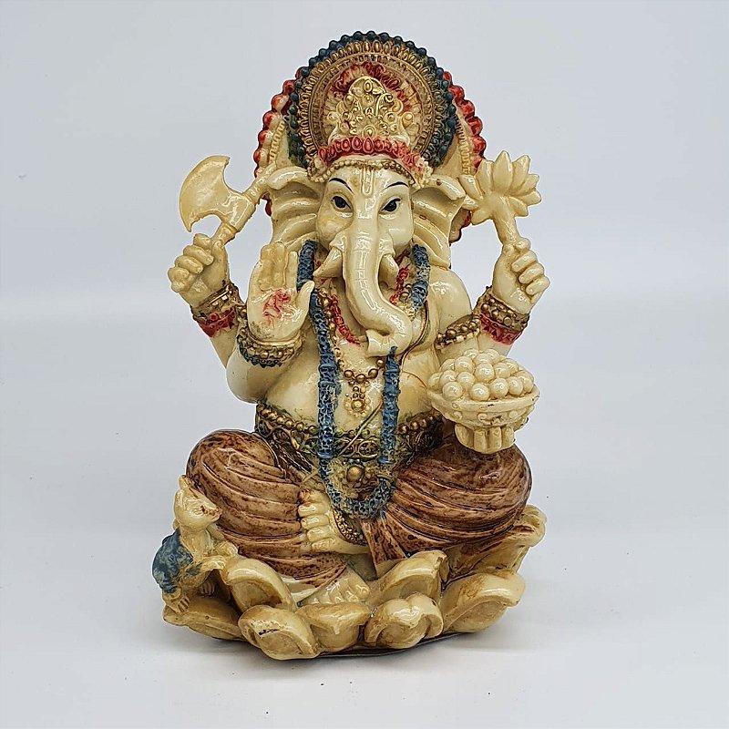 Ganesha Sentado 16 cm Marfim