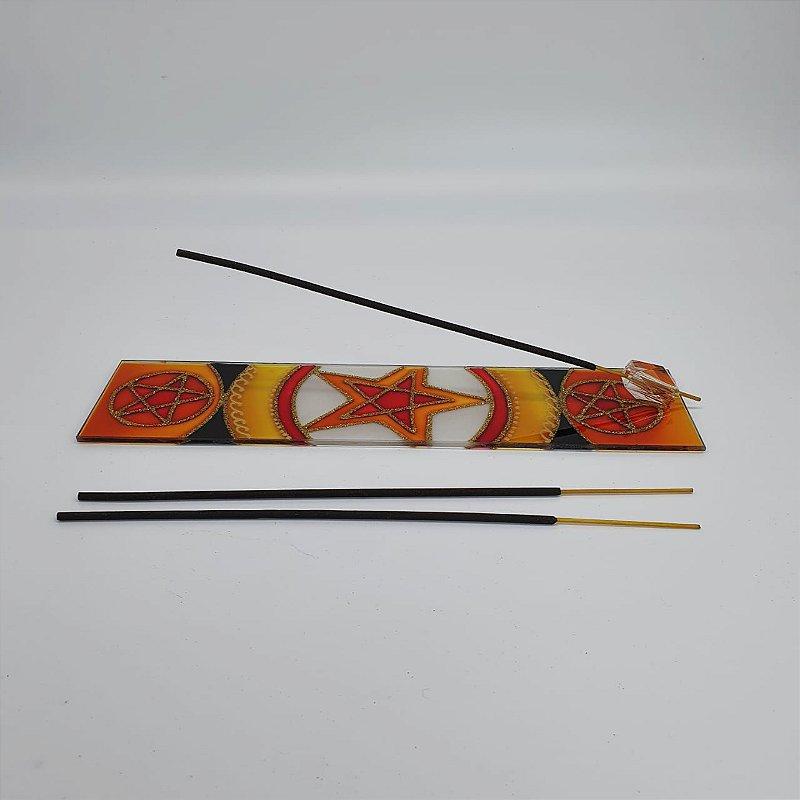 Incensário Canaleta de Vidro Pentagrama 25cm