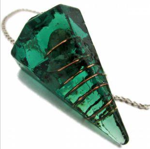 Pêndulo de Orgonite com Pedra Esmeralda - 3cm - Prosperidade e Cura