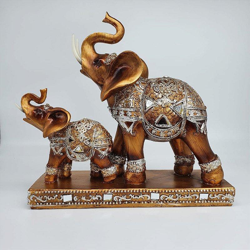 Elefante com filhote espelhado 25 cm