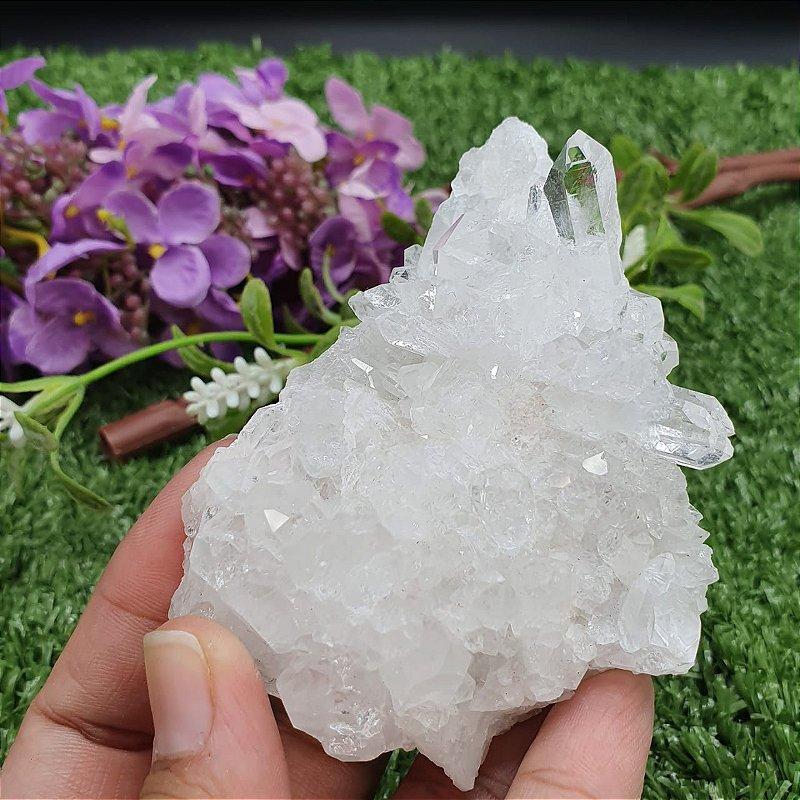 Drusa de Cristal - Qualidade Super Especial com Pontas Gêmeas | A4cm x L7cm x P9cm | P 138g