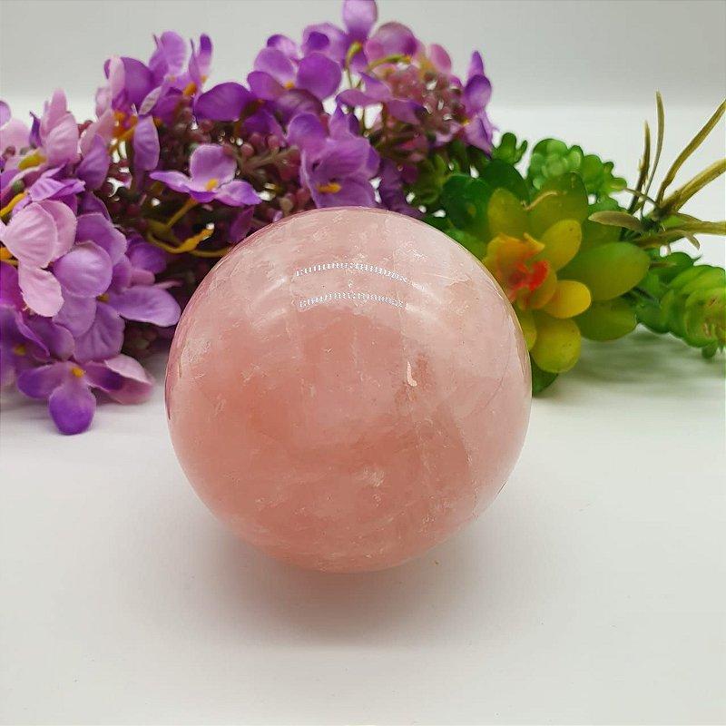 Esfera de Quartzo Rosa - Qualidade Super Extra Especial | A7cm x L7cm x P7cm | p 375g