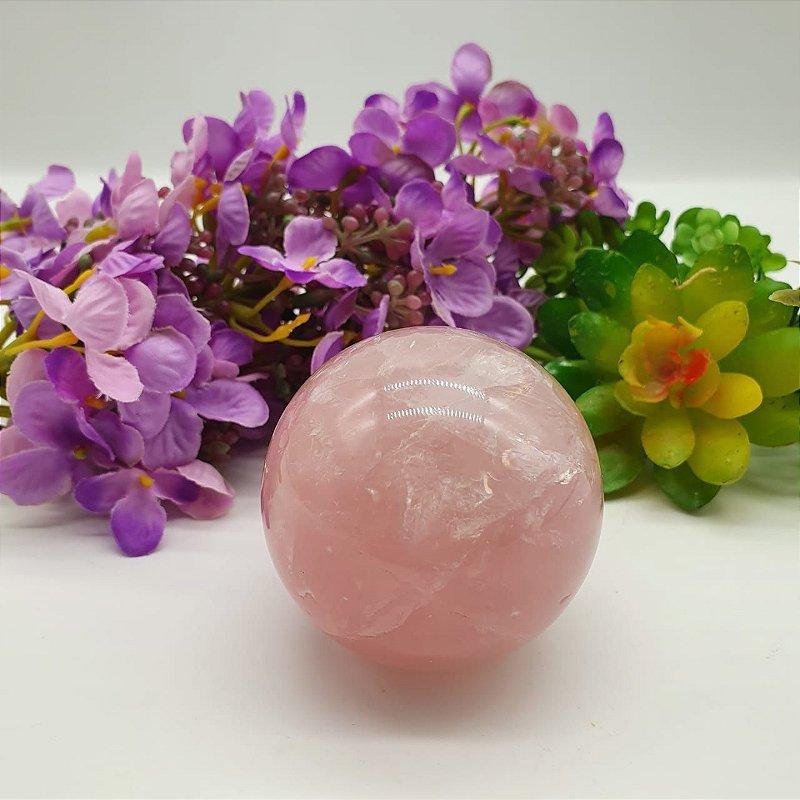 Esfera de Quartzo Rosa - Qualidade Super Extra Especial | A5cm x L5cm x P5cm | p 213g