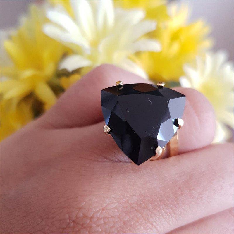 Anel Obsidiana Negra Dourado Ajustável