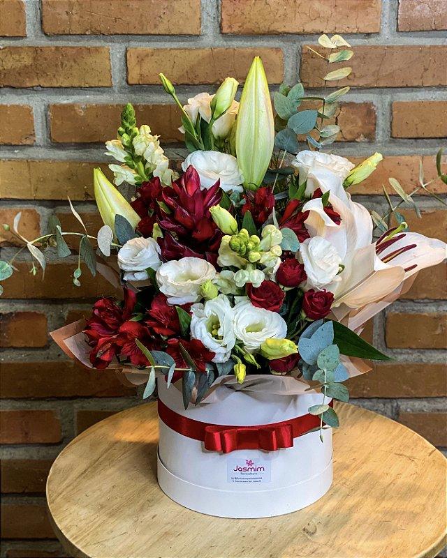 Flowers Box Luxo G vermelho/branco