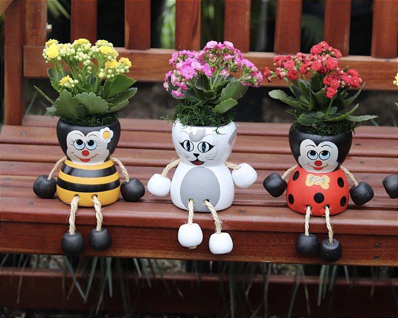 Vaso de cerâmica de animais com Planta