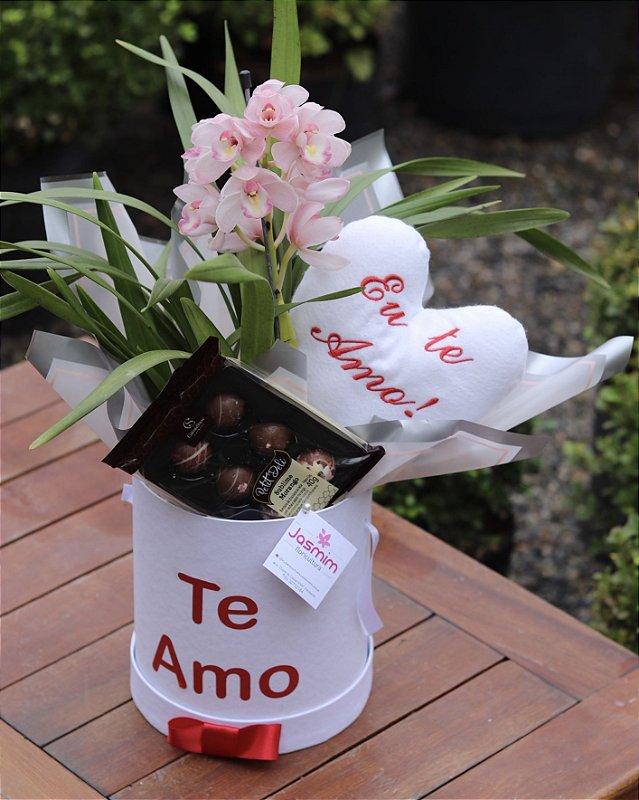 Box Orquídea Cymbidium com Chocolate
