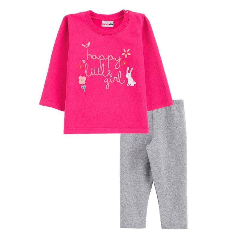 Conjunto Little Girl Casaco + Calça Legging Bebê Menina Candy Kids Pink