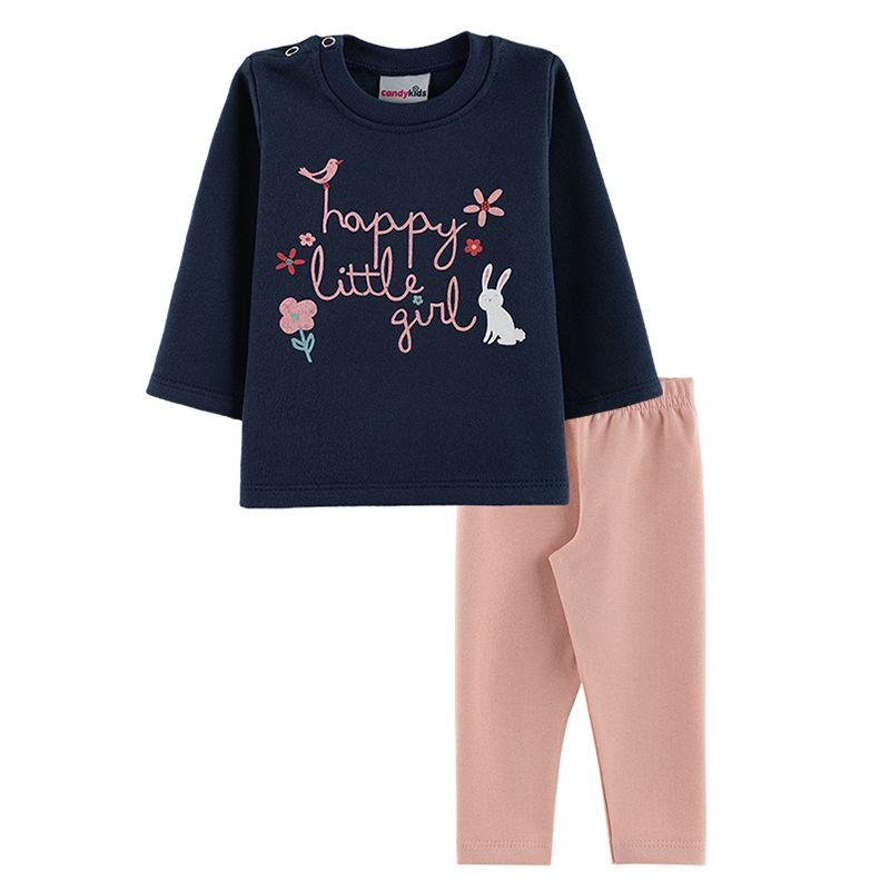 Conjunto Little Girl Casaco + Calça Legging Bebê Menina Candy Kids Marinho