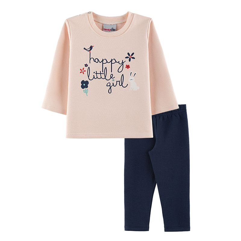 Conjunto Little Girl Casaco + Calça Legging Bebê Menina Candy Kids Angel