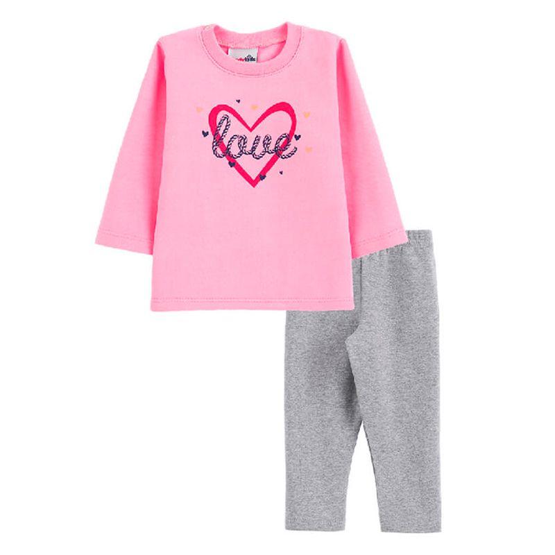 Conjunto Love Casaco + Calça Legging Bebê Menina Candy Kids Chiclete