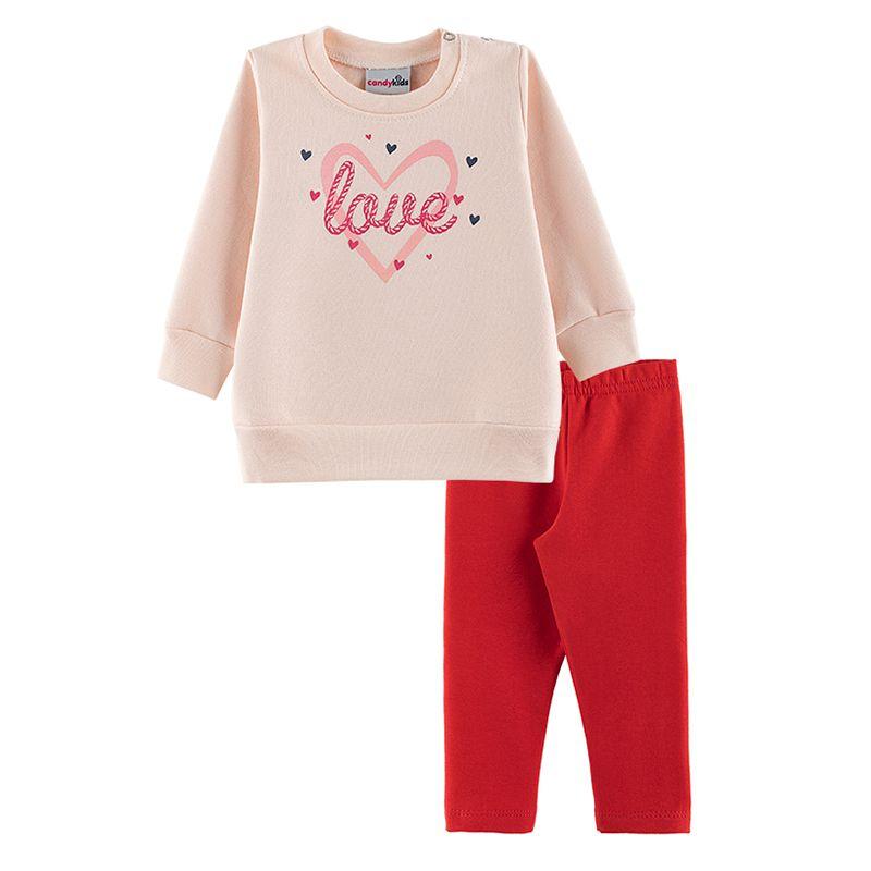 Conjunto Love Casaco + Calça Legging Bebê Menina Candy Kids Angel