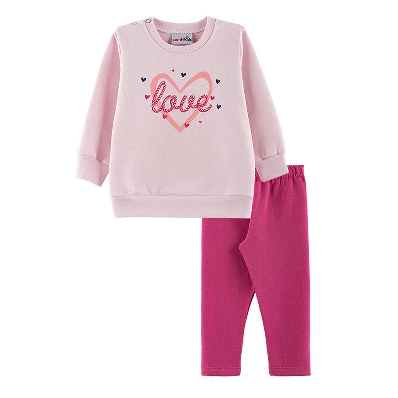 Conjunto Love Casaco + Calça Legging Bebê Menina Candy Kids Rosa