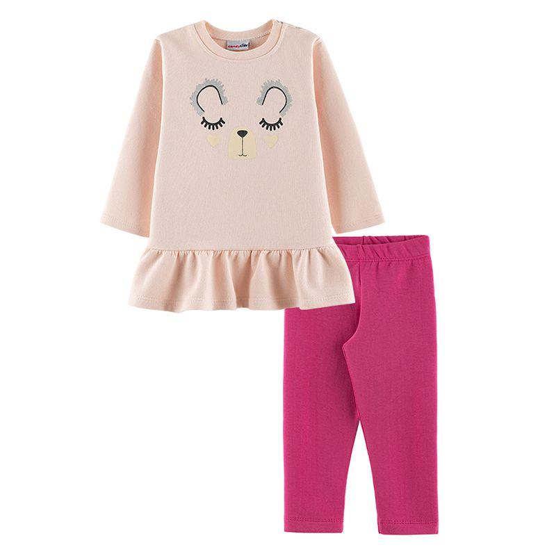 Conjunto Ursinha Casaco + Calça Legging Bebê Menina Candy Kids Angel
