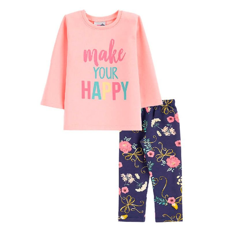 Conjunto Happy Casaco + Calça Legging Bebê Menina Candy Kids Rosé