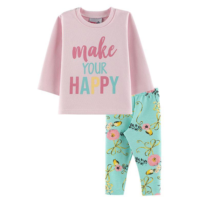 Conjunto Happy Casaco + Calça Legging Bebê Menina Candy Kids Rosa