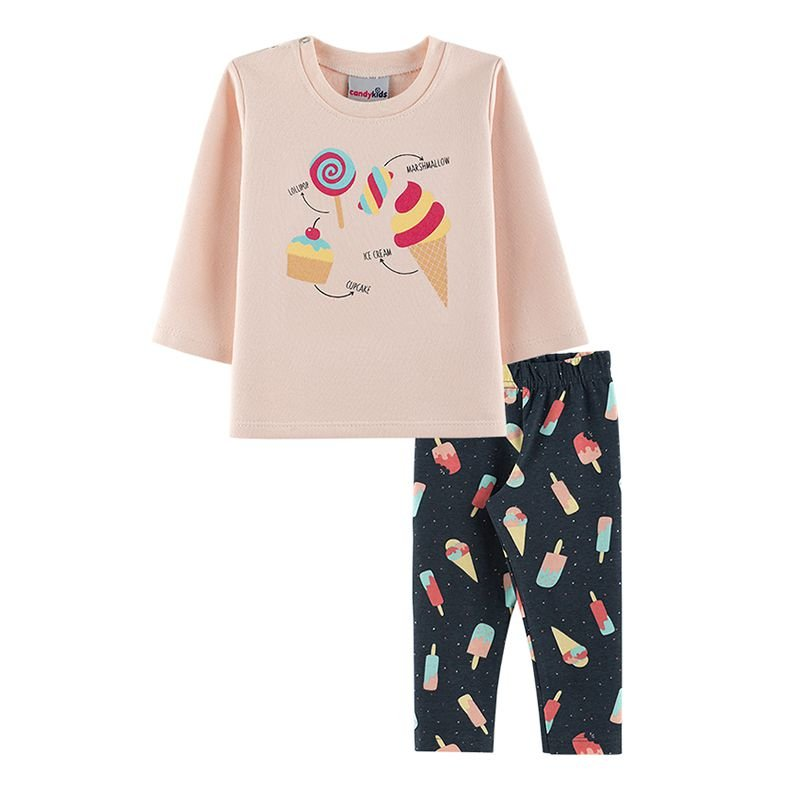 Conjunto Sorvete Blusa + Calça Legging Bebê Menina Candy Kids Angel