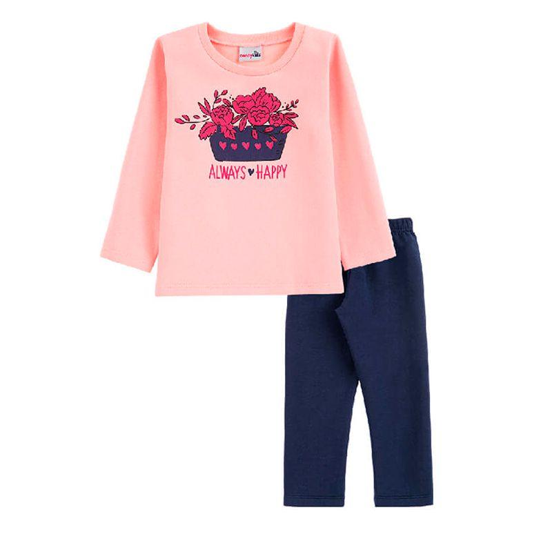Conjunto Always Happy Casaco + Calça Legging Infantil Menina Candy Kids Rosé