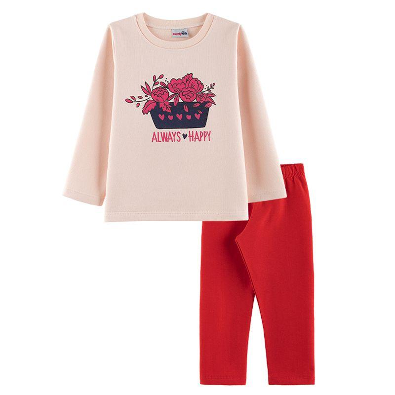 Conjunto Always Happy Casaco + Calça Legging Infantil Menina Candy Kids Angel