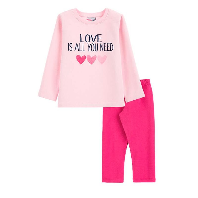 Conjunto Corações Casaco + Calça Legging Infantil Menina Candy Kids Rosa