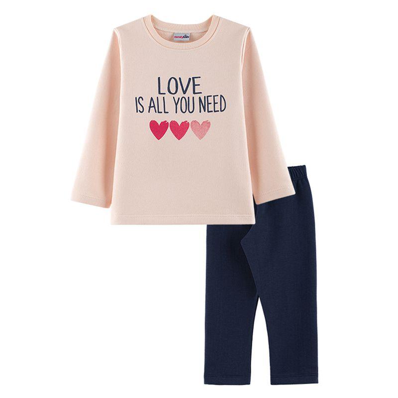 Conjunto Corações Casaco + Calça Legging Infantil Menina CandyKids Angel