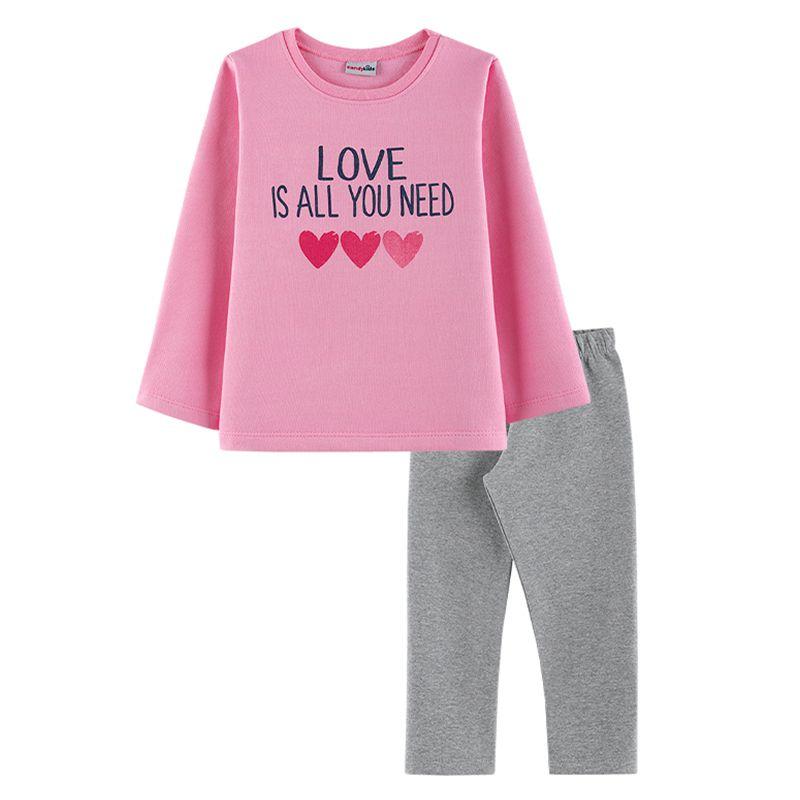 Conjunto Corações Casaco + Calça Legging Infantil Menina Candy Kids Chiclete