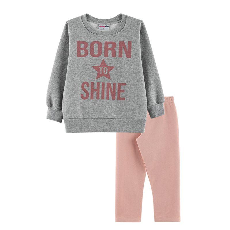 Conjunto Born to Shine Casaco + Calça Legging Infantil Menina Candy Kids Mescla