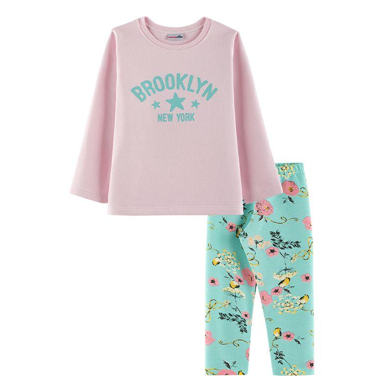 Conjunto Brooklyn Casaco + Calça Legging Infantil Menina Candy Kids Rosa